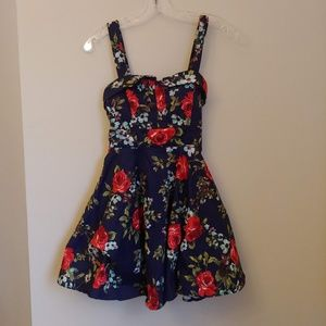 Ixia Navy Rose Floral Print Back-Tie Pinup Dress